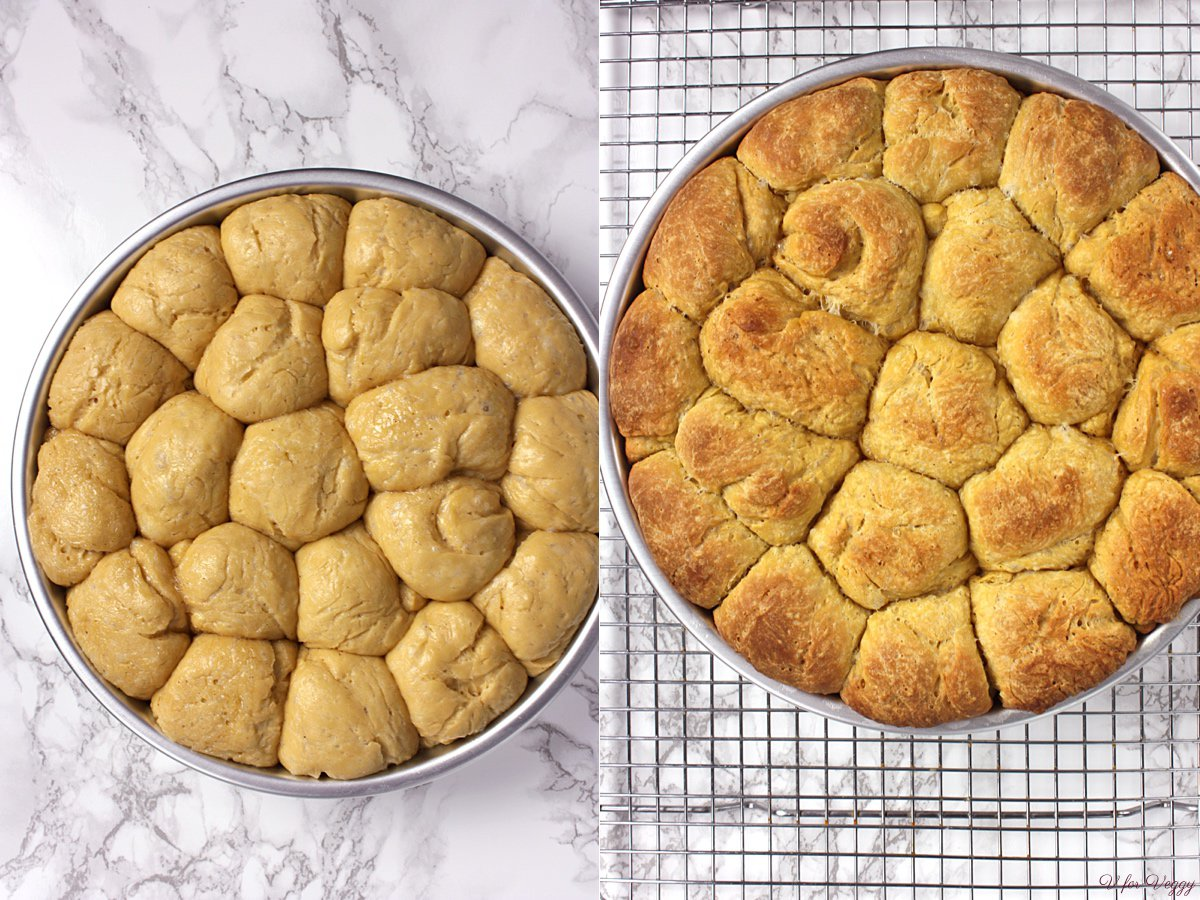 Left: proofed and ready to go in the oven; Right: right out from the oven.