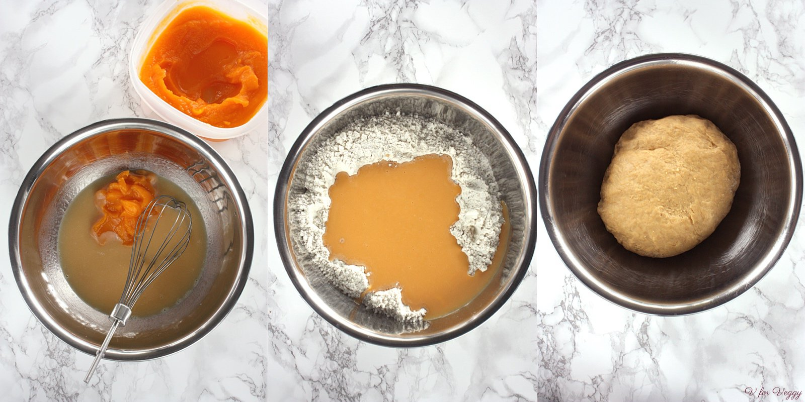 Left: milk, browned butter, egg, butternut puree; Center: mixing dry ingredients with wet ingredients; Right: kneaded dough.