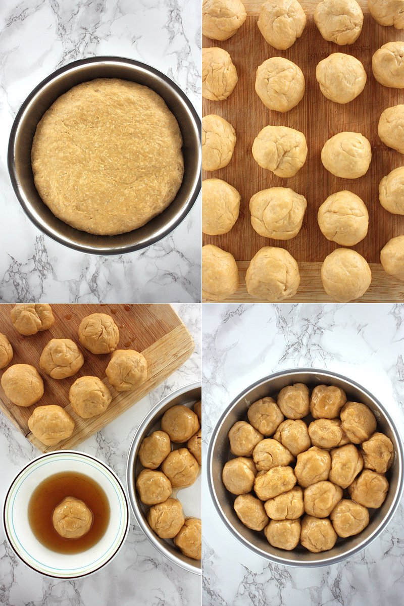 "Top Left: proofed dough; Top Right: dough divided into 20 pieces; Bottom Left: each piece is dipped in honey brown butter; Bottom right: dipped dough is placed in a 9"" round cake pan."
