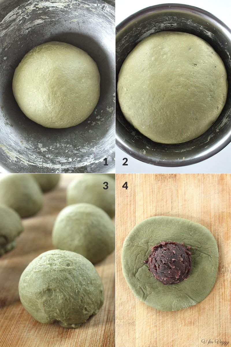 1. kneaded dough; 2. proofed dough; 3. divide proofed dough into 12 equal portions; 4. flatten each portion and place one medium ice cream scoop of red bean paste.