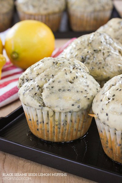Black Sesame Seeds Lemon Muffins