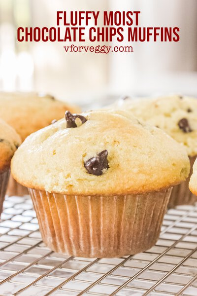 Fluffy Moist Chocolate Chips Muffins