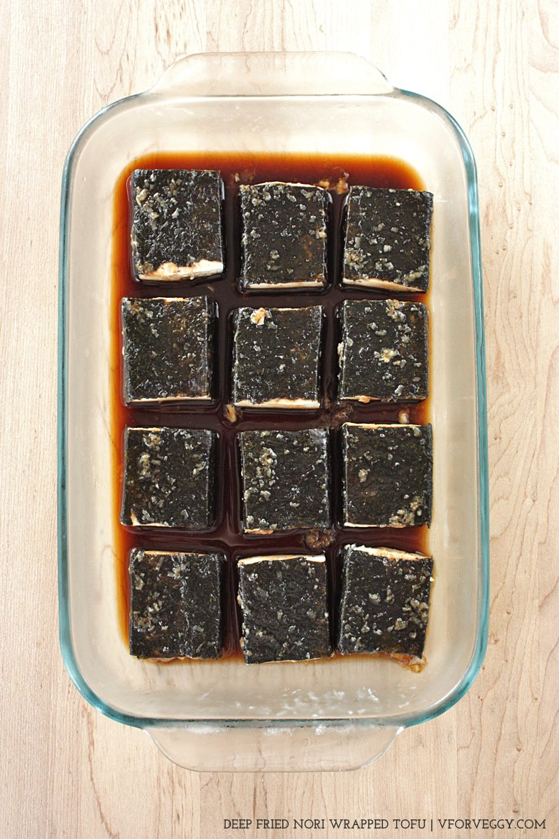 Nori Wrapped Tofu with Garlic Soy Marinade
