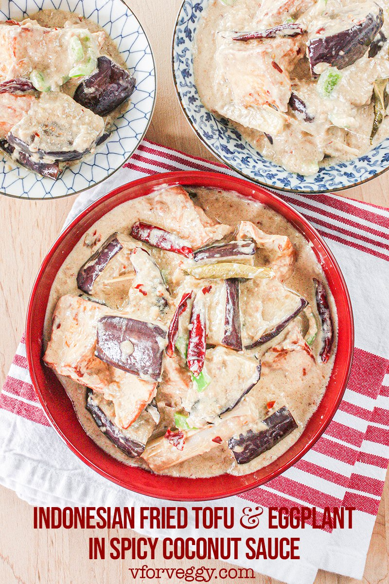 Indonesian Fried Tofu and Eggplant in Spicy Coconut Sauce