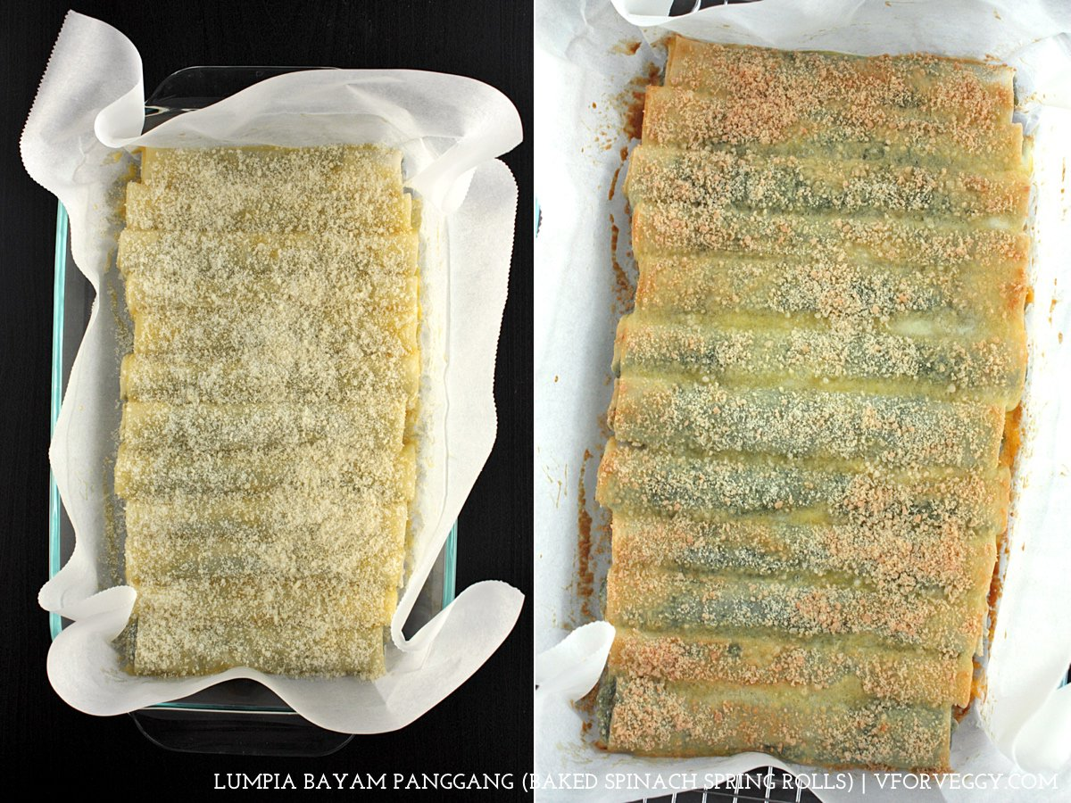 Lumpia Bayam Panggang - Baked Spinach Spring Rolls (1) Left: Prior to baking; (2) Right: Out from oven.
