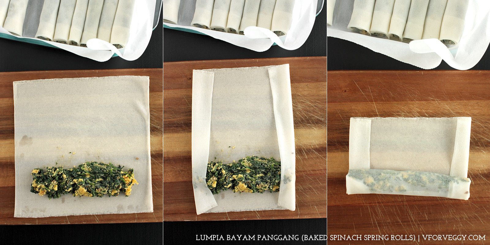 Shaping Spinach Spring Rolls (step-by-step)