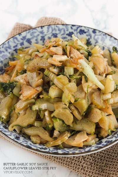 Butter Garlic Soy Sauce Cauliflower Leaves Stir Fry