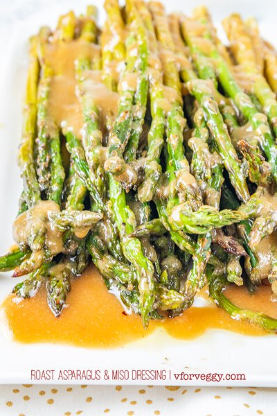Roast Asparagus and Miso Dressing